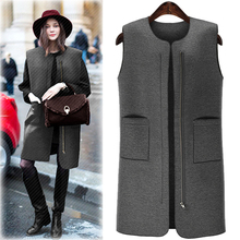 Winter Women Pockets Grey Long Vest Coat Europen Style Waistcoat Sleeveless Jacket Large Size Outwear Casual Top Roupa Female