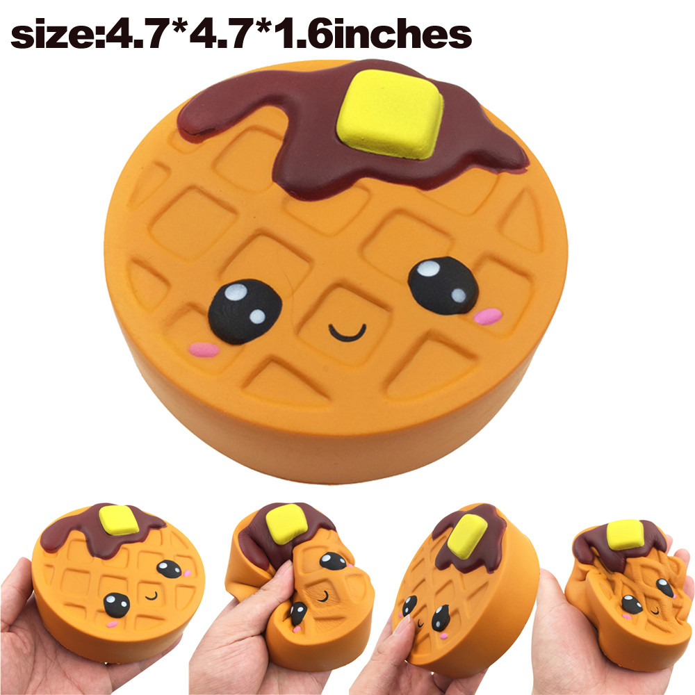 Squishy Waffles Cake Squeeze Cartoon toy for Kids Fun Jumbo Squishies Slow Rising Scented Toy Soft Charm Decoration jumbo squishy cute glasses bear scented charm super slow rising squeeze toy