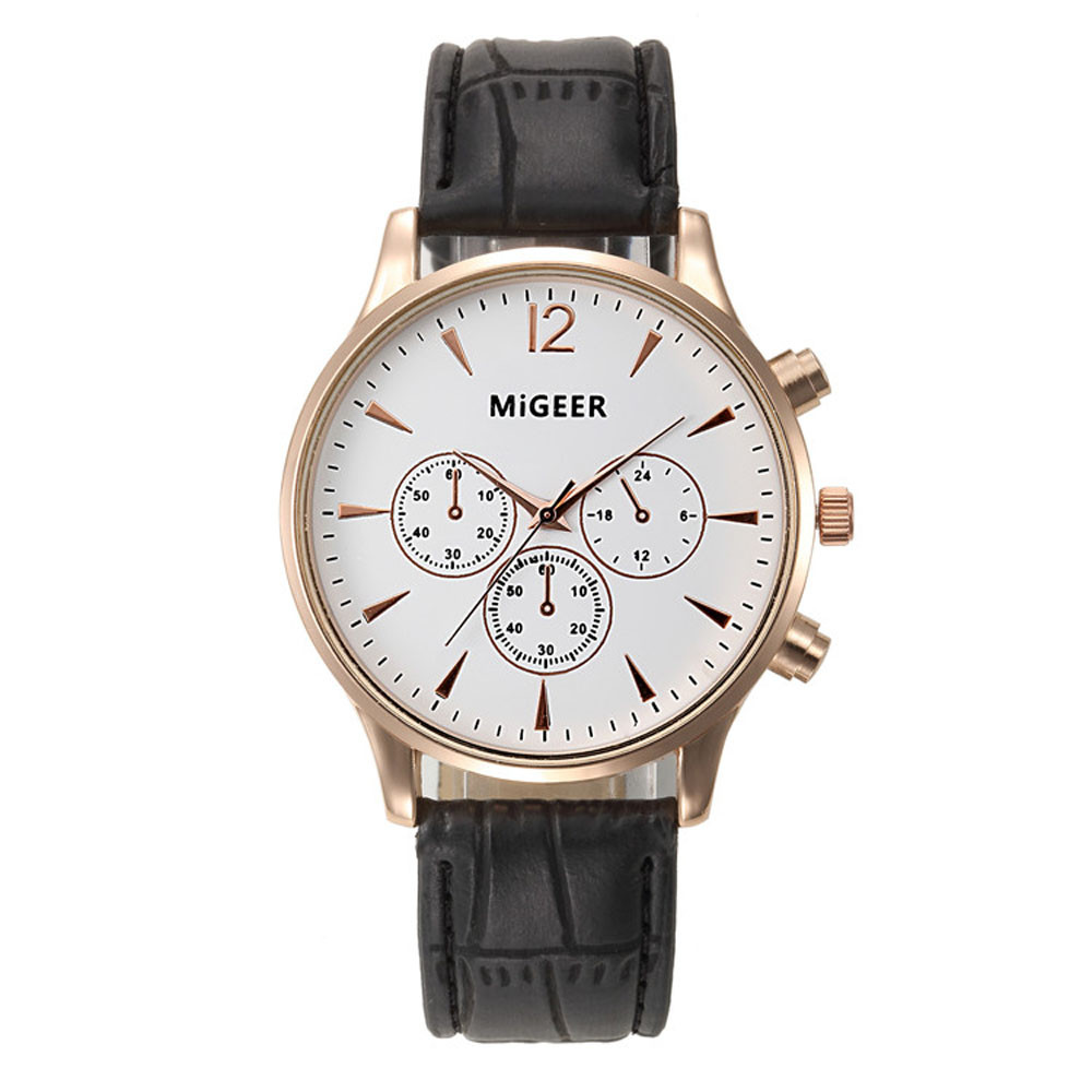 New Fashion Men Quartz Watch Luxury Faux Leather Analog Quartz Clock Wristwatch Relojio Man Business Watches Masculino от Aliexpress INT