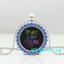 Jewelry Peace Love Vegan Necklace Round Crystal Pendant Ball with Chain