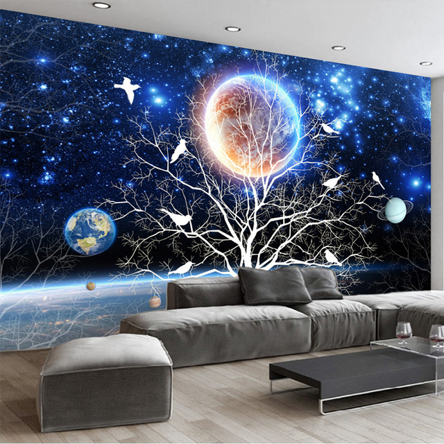 3d stereo cielo stellato fiori e uccelli murale carta da for Carta da parati 3d fiori