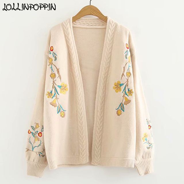 b96399b4a966 Women Floral Embroidery Cardigan Sweater Open Stitch Vintage Mori Style  Cable Knit Sweaters Ladies Knitwear