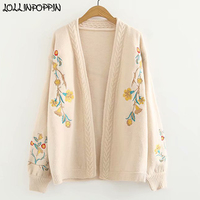 Women Floral Embroidery Cardigan Sweater Open Stitch Vintage Mori Style Cable Knit Sweaters Ladies Knitwear
