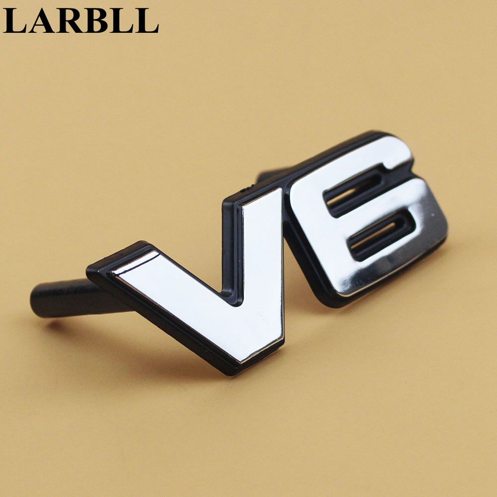 LARBLL Car Auto Styling CHROME Silver V6 Sticker  Front centre  GRILL GRILLE EMBLEM BADGE  For Mitsubishi Cheetah Pajero auto car chrome r sport for jaguar xf xe xkr xjr front grill grille badge emblem