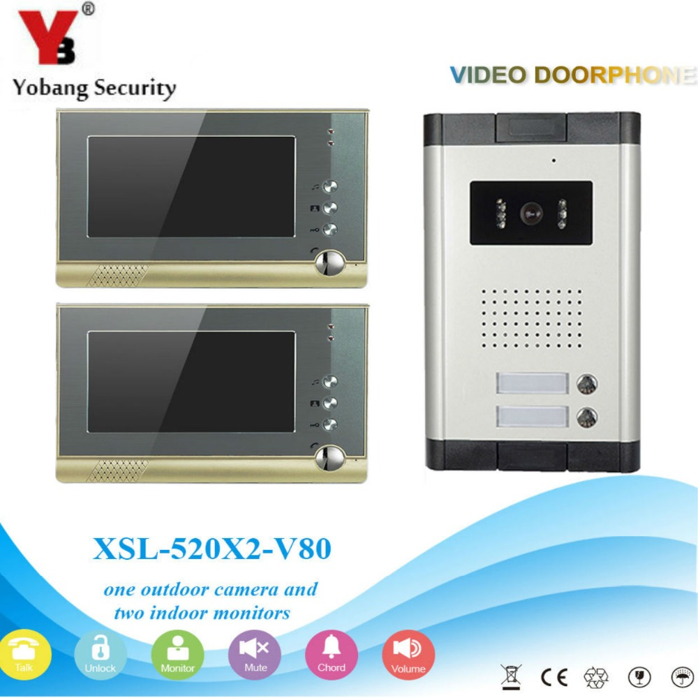 YobangSecurity Villa Apartment Eye Door bell 7TFT LCD Color Video Door Phone Doorbell Intercom System 1 Camera 2 Monitor freeship 10 door intercom security system hands free monitor color tft lcd screen intercom system video door phone for villa