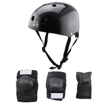 Suits of selling 2016 skating helmet children skateboard bike elbow and knee body sets new black with carbon foil helmet
