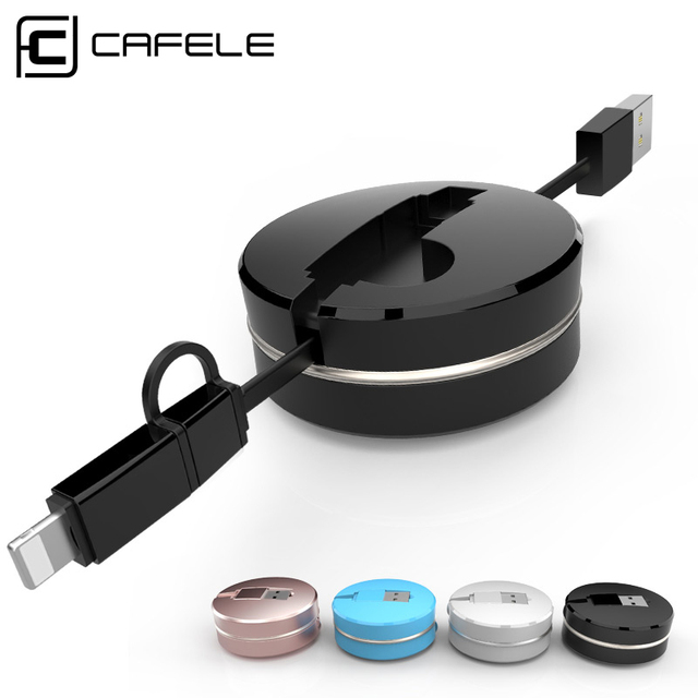 Cafele 2 en 1 Cable de Carga USB Retráctil Caja Redonda de 8 Pines especial para iphone 5s 6 6 s 6 plus micro usb para android inteligente teléfono