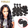 3 Bundles Brazilian Virgin Hair With Closure Unprocessed Brazilian Body Wave With Closure 6A Human Hair Weave With Lace Closure