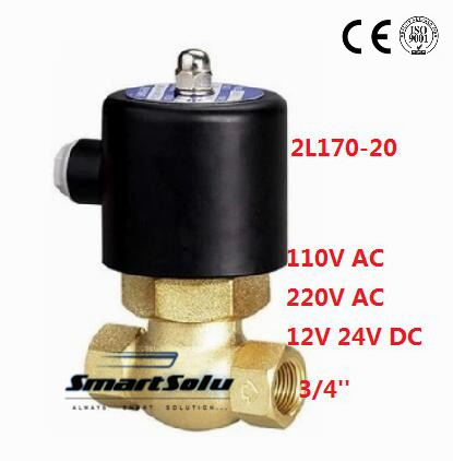 Free shipping 3/4'' Inch Brass Electric Steam Hot Water Solenoid Valve NC, 220V AC 1 2bspt 2position 2way nc hi temp brass steam solenoid valve ptfe pilot