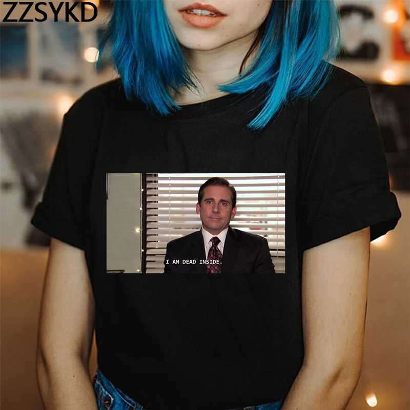 Michael Scott I Am Dead Inside Quotes The Office Vintage Funny T-Shirt Female Grunge Summer 2019 Fashion Graphic Tees Women Tops image