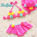 3 PCS 2017 summer baby girls swimwear flowers fashion children bikini swimsuit cute girls summer sets 10M-5T