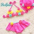 3 PCS 2017 verão do bebê meninas flores swimwear moda biquíni crianças maiô bonito meninas jogos de verão 10 M-5 T