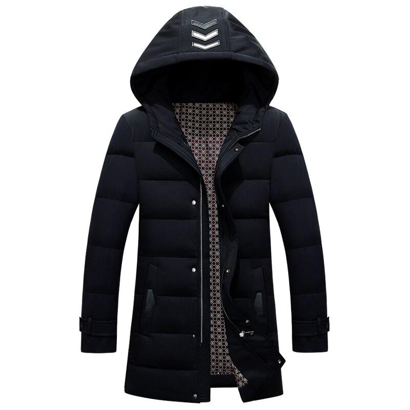 White Duck   Down   Jacket Men Warm Hooded Long Mens Winter Parkas Thick Men's Jackets Solid   Down     Coat   Casaco Masculino JK-1218