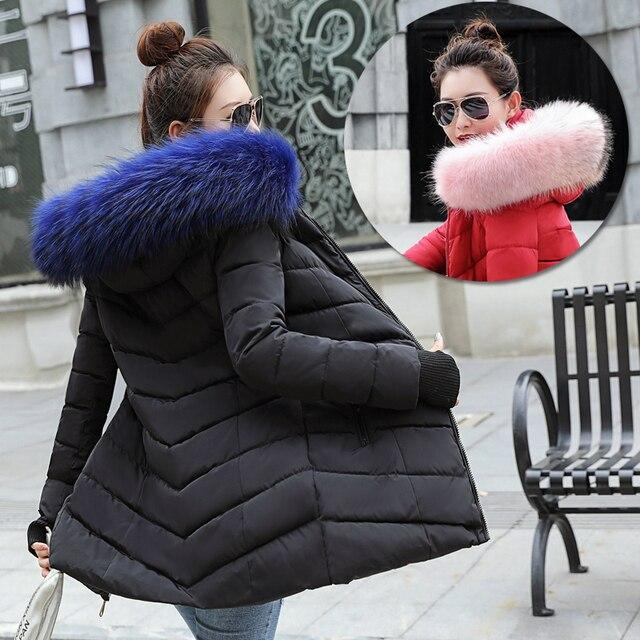 חורף מעיל נשים 2019 מותג אופנה עיבוי חם חורף למטה מעייל דובון מעיל ארוך Slim סלעית פרווה מעילי 4 צבע