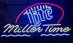 Niestandardowe Miller czas szklane znak światła Neon Beer Bar