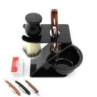 Lyrebird Polish silver Straight Razor Replaceable blade shaving razor + 20PCS blades + holder + Brush + bowl Simple packing NEW