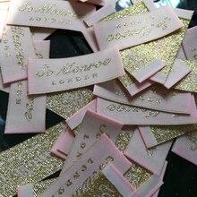 ; ; 1000 штук; ярлыки для обуви на заказ; тканые ярлыки; бирки с вышивкой; серебристые и золотистые WSL-001