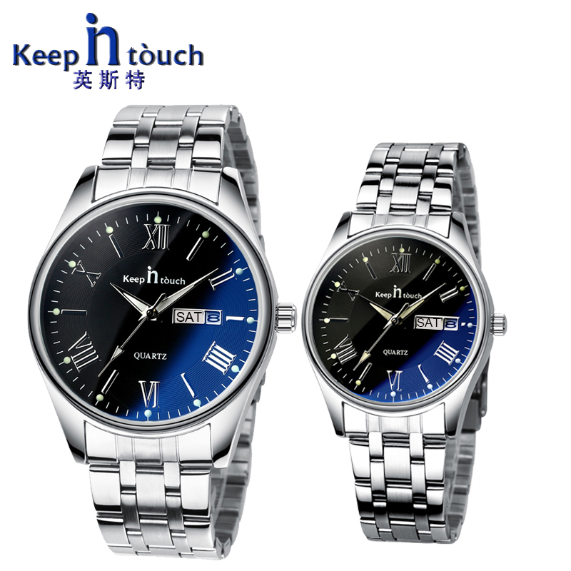 KEEP IN TOUCH Quartz Calendar Watches for Lovers Steel Waterproof Couples Watch Man and Ladies Dress Men Clock Reloj Hombre 2018 keep in touch lovers watch luminescent calendar couple watches for lovers coffee golden watch men and women in pair with box