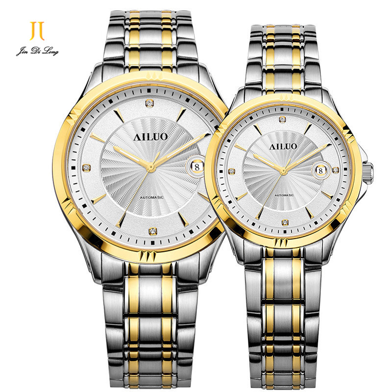 Brand Ailuo Classic Business Casual Lovers Watch Auto Mechanical Wristwatch Diamond Dial 316L Steel Men Women