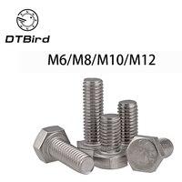 DIN933 304 нержавеющая сталь полный поток изысканные 0,75/1,0/1,25/1,5 M6 M8 M10 M12 винты Внешний шестигранник 304 болт DT2
