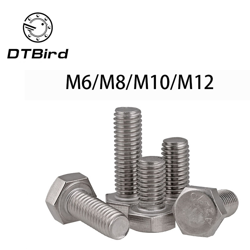 DIN933 304 stainless steel full thread fine 0.75/1.0/1.25/1.5 M6 M8 M10 M12 screws External hex 304 bolt  DT2DIN933 304 stainless steel full thread fine 0.75/1.0/1.25/1.5 M6 M8 M10 M12 screws External hex 304 bolt  DT2