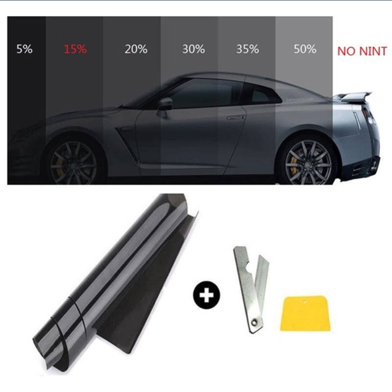 Car window tint film roll 15% VLT auto glass tinting film for hose office car sunshade residential commercial 50*300cm the window office paper sticker pervious to light do not transparent bathroom window shading white frosted glass tint