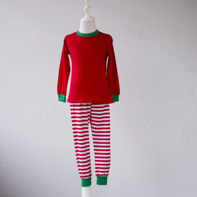 305a0ea30 Em branco de luxo adolescente criança inverno pijamas meninos pijamas  crianças pijama listrado verde vermelho