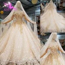 AIJINGYU Glitter ชุดแต่งงาน Gowns แขน Exotic Weddimg สวีเดนเจ้าสาว London ชุดแบบยาว Frocks สำหรับงานแต่งงาน