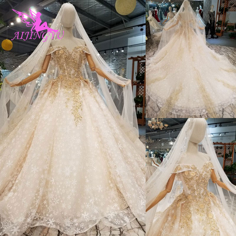 Wedding Gowns London: AIJINGYU Glitter Wedding Dress Gowns With Sleeves Exotic