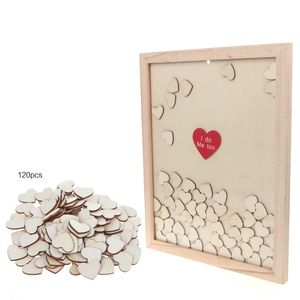 Romantic Wedding Photo Frame Signature Guest BookBridal Bookcase Box With 120pcs Heart Drop Top Wooden Memory Visitor Books