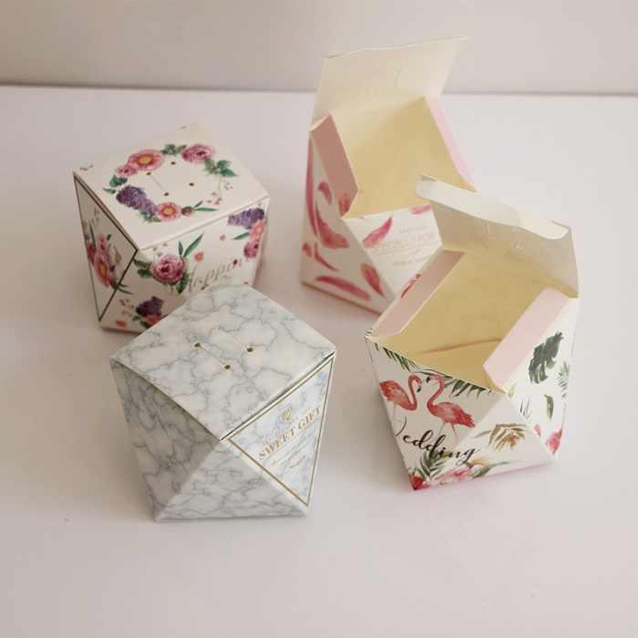 キャンディーボックスバッグチョコレート紙ギフトパッケージ用誕生日ウェディングパーティーの好意の装飾用品diy貴重な石デザインwh