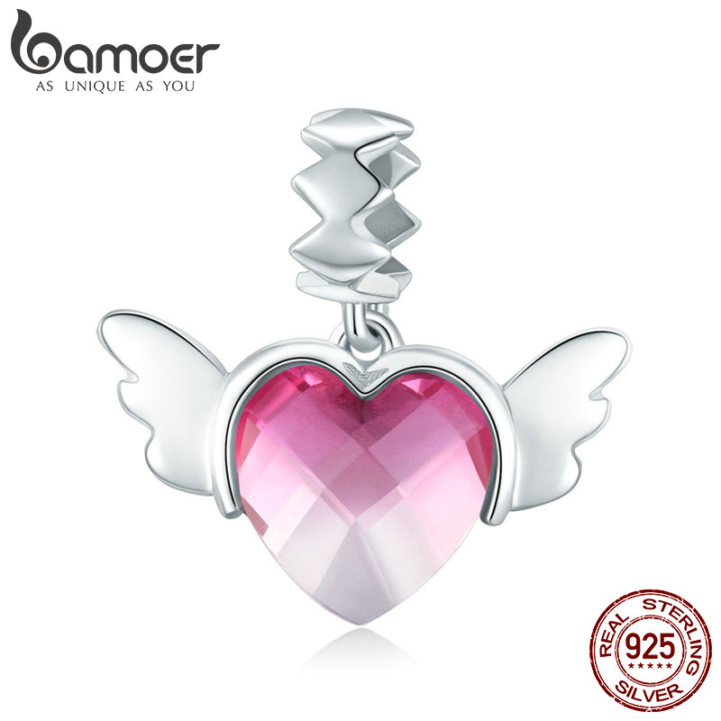 BAMOER 100% 925 Sterling Silver Love Heart Wings Pink Red Crystal CZ Pendant Charms Fit Bracelets & Necklaces DIY Jewelry SCC846BAMOER 100% 925 Sterling Silver Love Heart Wings Pink Red Crystal CZ Pendant Charms Fit Bracelets & Necklaces DIY Jewelry SCC846