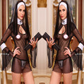 2016 New Sexy Mulheres Traje Cosplay Uniforme Transparente Sexy Lingerie Exotic Nun Halloween Freiras Trajes Vestido Outfit Roupas