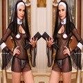 2016 Nuevas Mujeres Sexy Traje de Cosplay Uniforme de Monjas Transparente Sexy Ropa Interior Exótica Ropa de Disfraces de Halloween Vestido de Traje de Monja