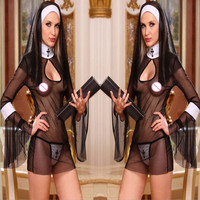 2016 New Sexy Costume Women Cosplay Nuns Uniform Transparent Sexy Lingerie Exotic Nun Halloween Costumes Dress