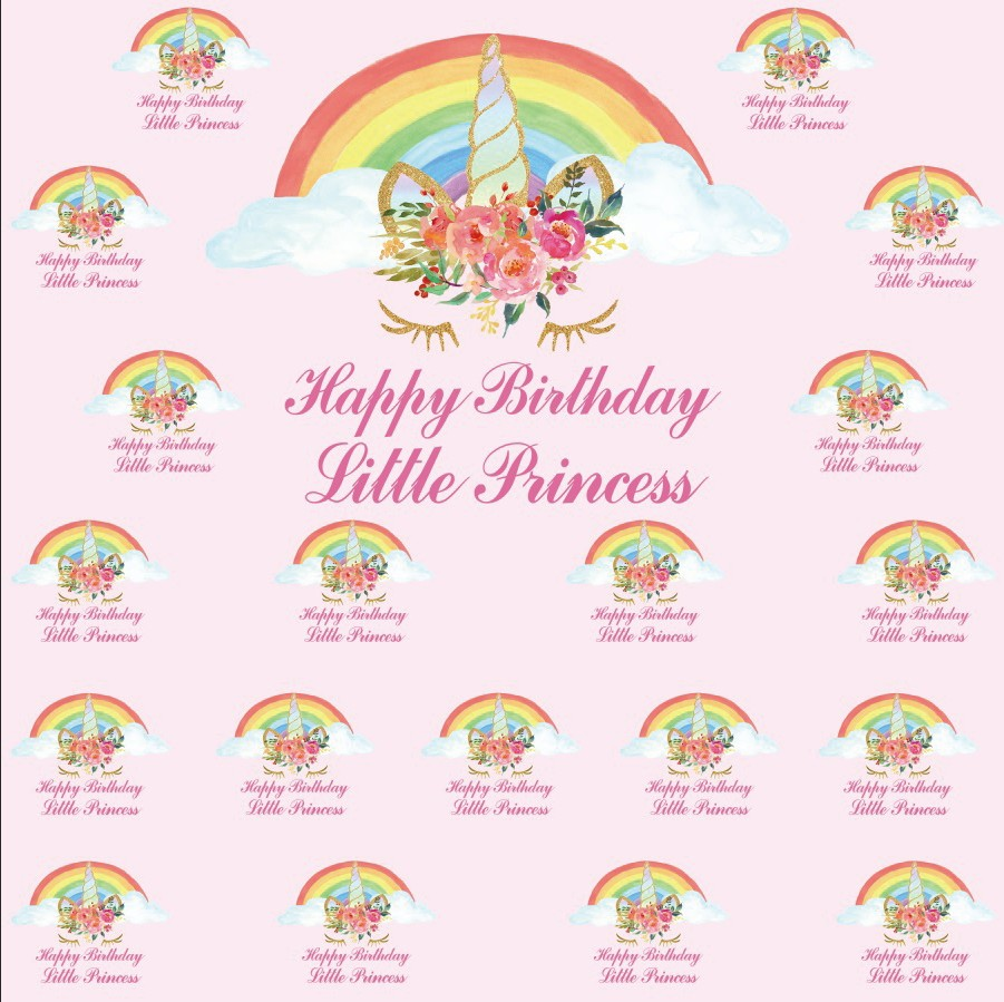Laeacco Happy Birthday Princess Unicorn Scene Baby Photography Backgrounds Customized Photographic Backdrops For Photo Studio