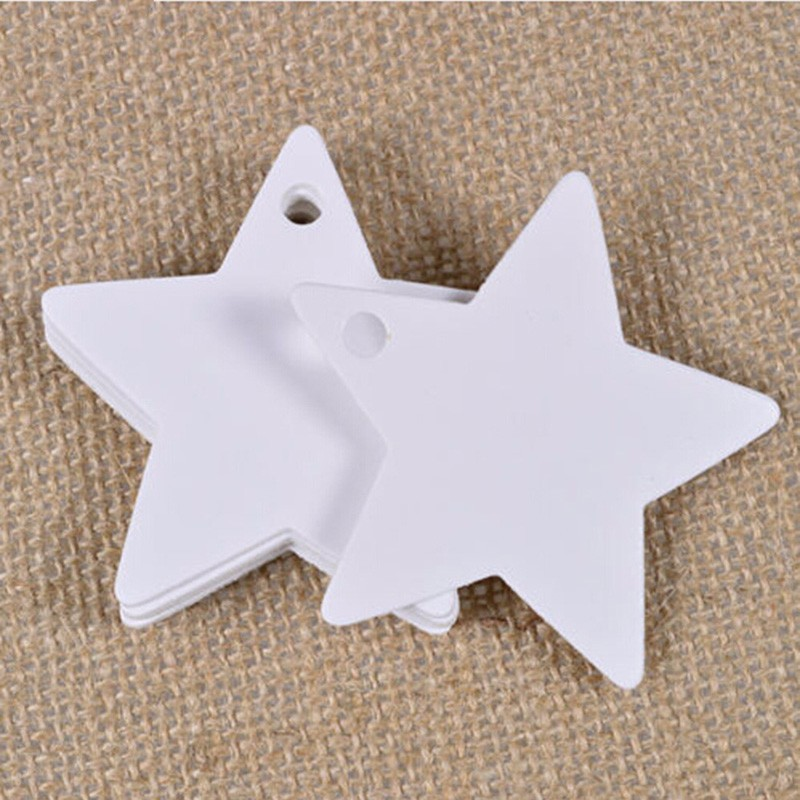 100Pcs Star Kraft Paper Label Wedding Christmas Halloween Party Favor Price Gift Card Luggage Tags White Black Brown