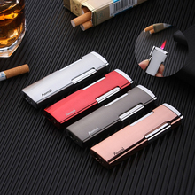 Flat Metal Ultra-thin Inflatable Windproof Lighter Portable Creative Personality Gas Lighter Red Flame creative flame dragon pattern lighter antique brass
