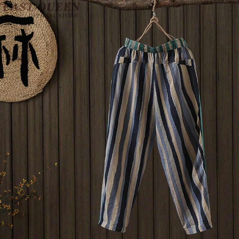 Chinese style linen Palazzo culotttes femme wide leg pants women female loose baggy ladies elegant pants trousers FF767 4