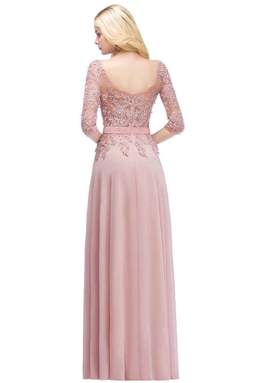 Elegant Pink Navy Blue Chiffon A-Line 3/4 Sleeve Long Bridesmaid Dress 1