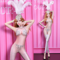 Women Sexy Jumpsuit Sparkling Crystals Bodysuit Birthday Celebrate Outfit Female Nightclub Party Singer Dancer Stage Costume DJ