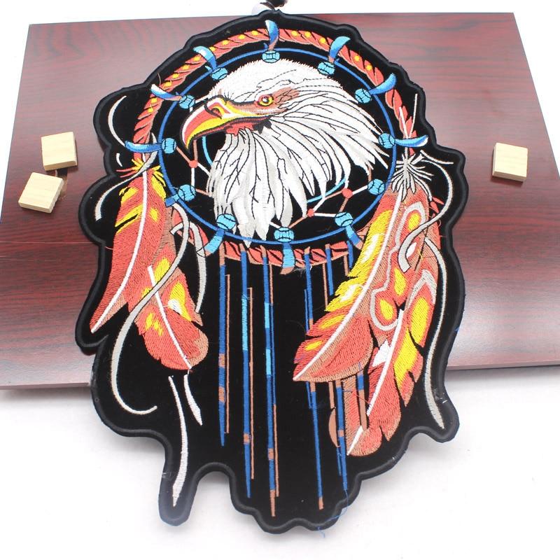 Geborduurde grote enger Patches biker patches voor vest biker ijzer op kleding motief borduurwerk sticker DIY jas accessoires