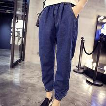 L-5XL Плюс размер женщин джинсовые брюки случайные Упругие Талии свободные джинсы Брюки дамы удобрения для увеличения Джинсовые Брюки A90
