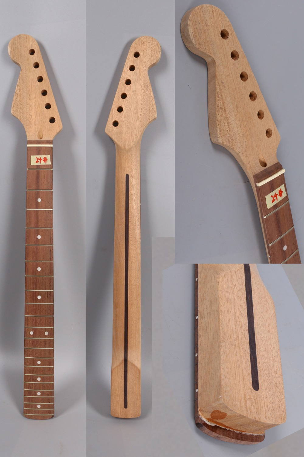 Yinfente Unfinished electric guitar neck replacement 22 fret 25.5 inch Reverse head rosewood fretboard Dot inlay #24 yinfente electric guitar neck 22 fret reversed head rosewood fretboard 25 5 inch maple locking nut shark inlay 13