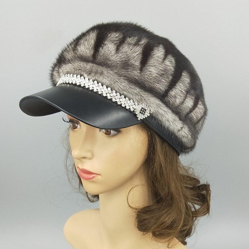 2019 real mink fur hat imported female fur cap luxury high end hat natural fur hat ladies winter warm hat with cap octagonal cap - 6