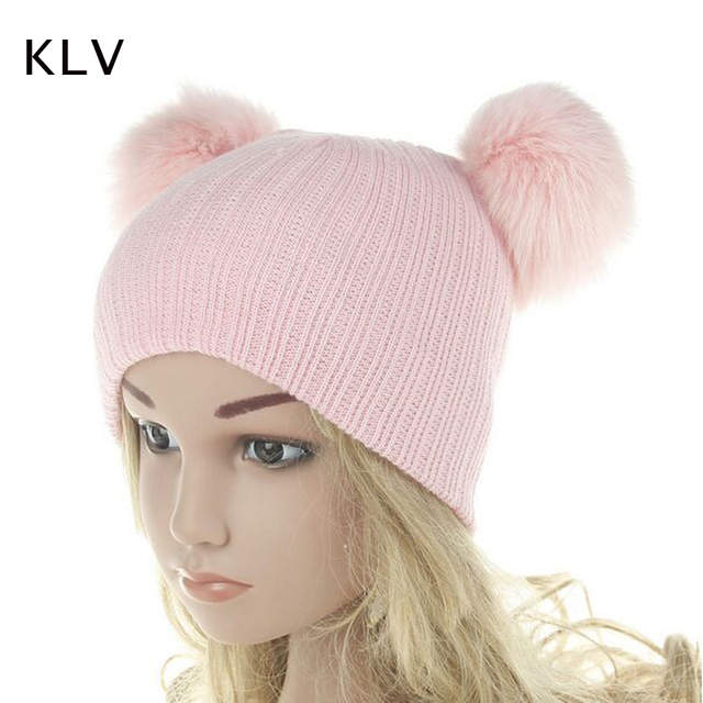 4576bc01214 KLV Cute Girls Boys Beanie Cotton Winter Caps With 2 Real Fox Fur Pompom  Kids Beanies