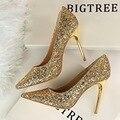 Nuevo Estilo Europeo Zapatos de tacón alto de Los Zapatos Superficial Brillante de Lentejuelas Discoteca Delgada Sexy Señaló Zapatos de Tacones Altos G9219-1