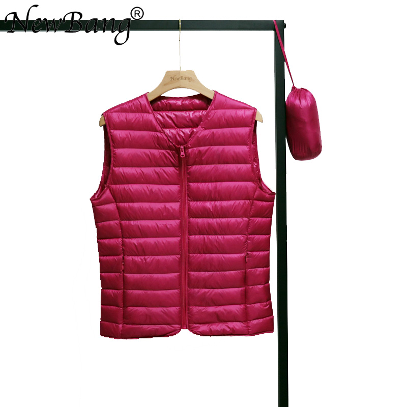 NewBang Spring V-Neck Woman's Ultra Light Down Vest Zipper Waistcoat Warm Liner Vest Portable Couples Vest