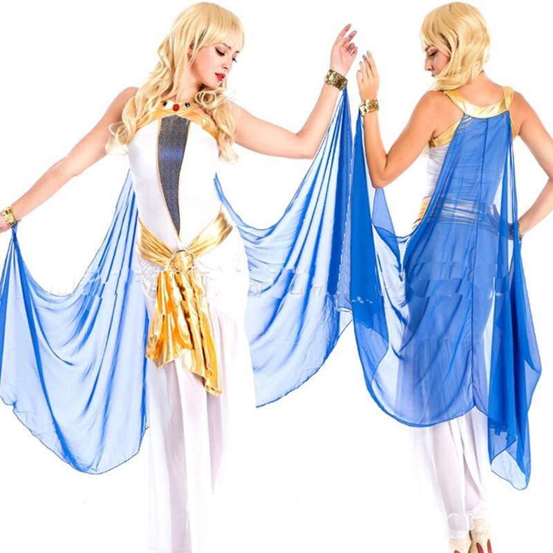 High quality new Halloween cosplay costume sexy Cleopatra long skirt Arab game uniform white goddess party party carnival night