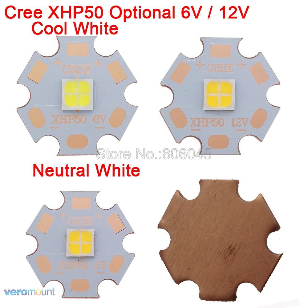 Cree XHP50 6V or 12V 6500K Cool White, 5000K Neutral White, 3000K Warm White High Power LED Emitter on 16mm 20mm Copper PCB Base 2pcs lot us cree cxa 3070 beads 117w high power led chip 2700 3000k 5000 6500k pure white warm white